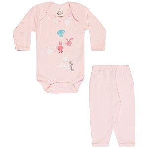 Conjunto Body e Calça Infantil Menina Rosa Claro
