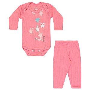 Conjunto Body e Calça Infantil Menina Rosa Médio