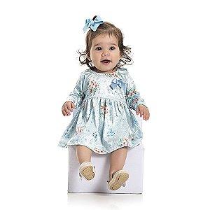 Vestido Veludo Flores Infantil Menina Azul