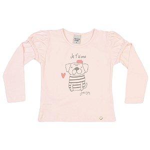 Blusa Infantil Cachorro Menina Rosa Claro