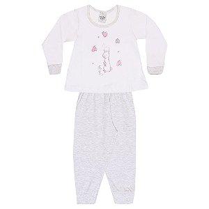 Pijama Infantil Menina Coelho Branco