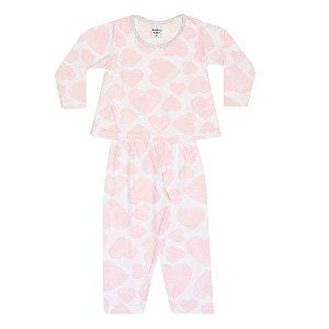 Pijama Infantil Menina Corações