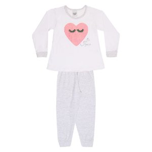 Pijama Infantil Menina Coração Branco