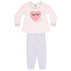 Pijama Infantil Menina Coração Rosa