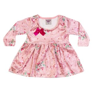 Vestido Veludo Flores Infantil Menina Rosa Claro