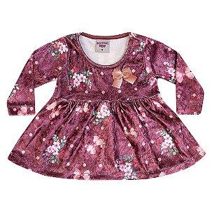 Vestido Veludo Flores Infantil Menina Bordô
