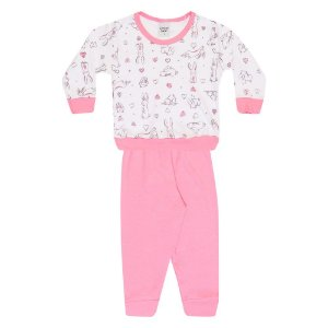 Pijama Infantil Menina Coelho Rosa