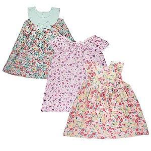 Kit 3 Vestidos Infantil Menina