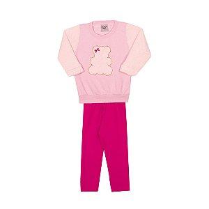 Conjunto Blusa e Legging Infantil Urso Menina Rosa