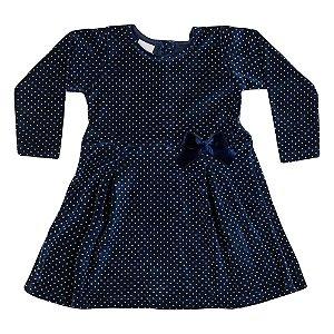 Vestido de Plush com Bolinhas Infantil Menina Marinho