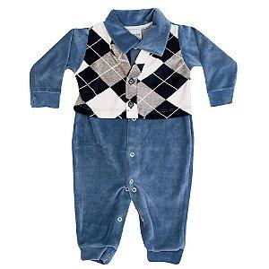 Macacão Plush Xadrez Infantil Menino Azul Claro