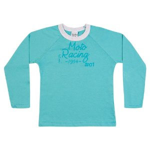 Camiseta Infantil Menino Moto Racing Azul Médio