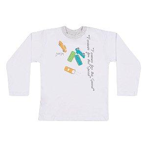 Camiseta Manga Longa Infantil Carros Menino Branco
