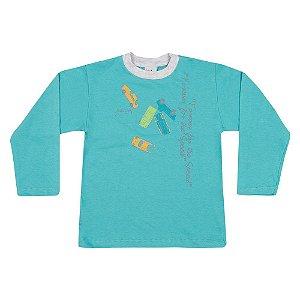 Camiseta Manga Longa Infantil Carros Menino Azul