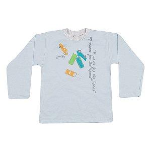 Camiseta Manga Longa Infantil Carros Menino Azul Claro