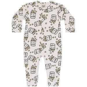 Macacão Pijama Infantil Menina Pipoca