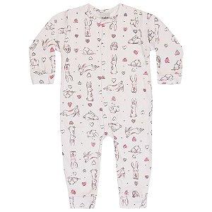 Macacão Pijama Infantil Menina Coelho