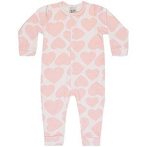 Macacão Pijama Infantil Menina Coração