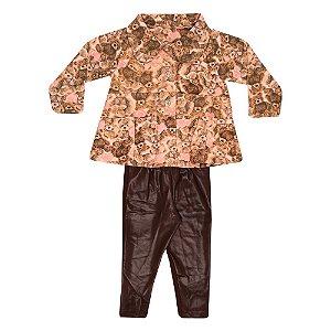 Conjunto Casaco e Legging Infantil Menina Rosa
