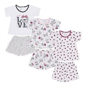 Kit 3 Pijamas Infantil Menina