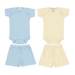 Kit 2 Conjuntos Suedine Azul e Amarelo Infantil Menino