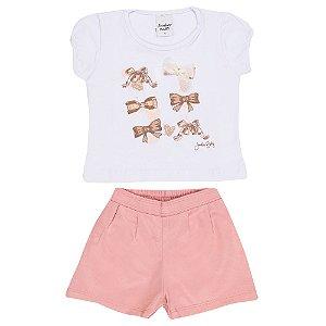 Conjunto Blusa e Short Laços Infantil Menina Rosa