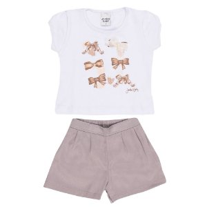 Conjunto Blusa e Short Laços Infantil Menina Cinza