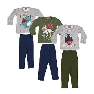 Kit 3 Conjuntos Moletom Dinossauro Infantil Menino