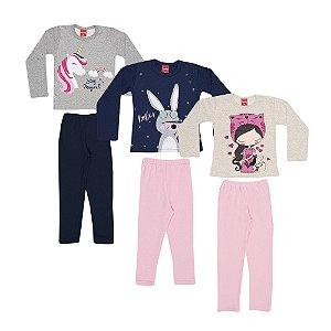 Kit 3 Conjuntos Moletom Infantil Menina
