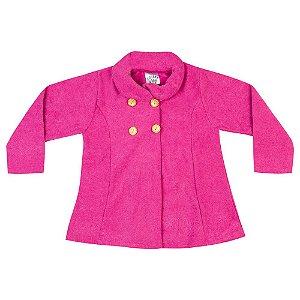 Casaco Bouclê Infantil Menina Rosa