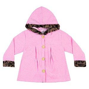 Casaco Bouclê Com Touca Infantil Menina Rosa Claro