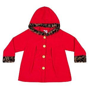 Casaco Bouclê Com Touca Infantil Menina Vermelho