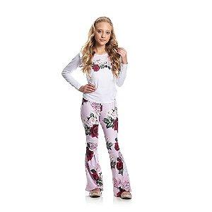 Conjunto Blusa e Calça Flores Infantil Menina