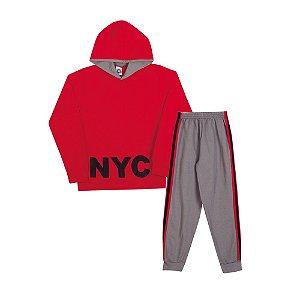 Conjunto Moletom NYC Infantil Menino Vermelho