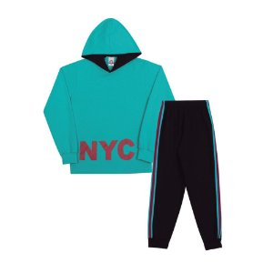 Conjunto Moletom NYC Infantil Menino Azul Água