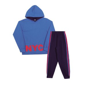 Conjunto Moletom NYC Infantil Menino Azul