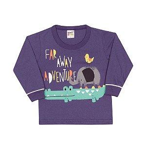 Camiseta Manga Longa Adventure Infantil Menino Azul