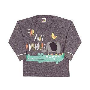 Camiseta Manga Longa Infantil Adventure Menino Mescla Escuro