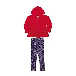 Conjunto Casaco e Calça Infantil Menina Vermelho
