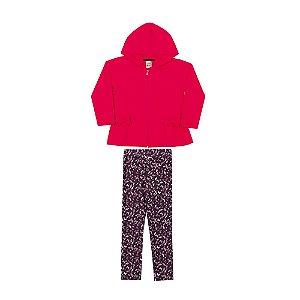 Conjunto Casaco e Calça Infantil Menina Rosa