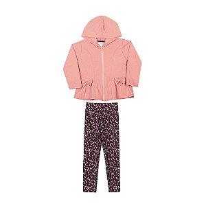 Conjunto Casaco e Calça Infantil Menina Pink