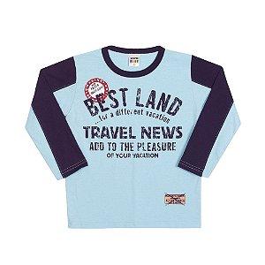 Camiseta Manga Longa Best Land Infantil Menino Azul Claro