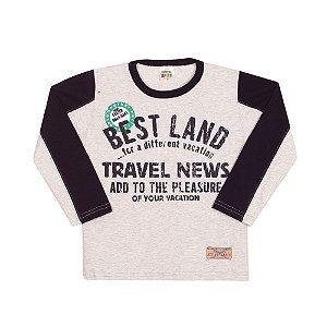 Camiseta Manga Longa Best Land Infantil Menino Mescla