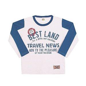 Camiseta Manga Longa Best Land Infantil Menino Branco