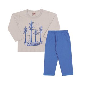 Conjunto Camiseta Manga Longa e Calça Infantil Menino Cinza