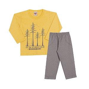 Conjunto Camiseta Manga Longa e Calça Infantil Menino Amarelo