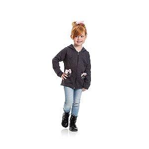 Jaqueta de Moletom com Lacinhos Infantil de Menina