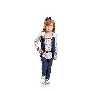 Colete Jeans com Capuz Infantil Menina