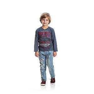 Camiseta Manga Longa Carro Infantil Menino