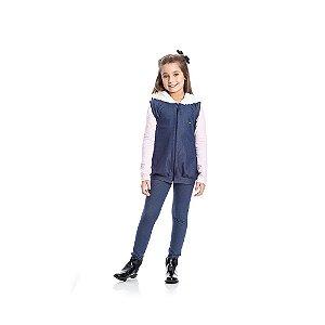 Colete Jeans com Pelucia Infantil Menina Azul
